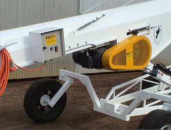 Conveyor showqing e-stop and warning signs
